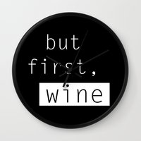 wine Wall Clocks featuring Wine by Mia & Booboo