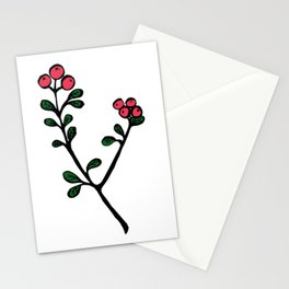 Berry loving deers on a green background Stationery Cards