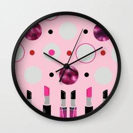 Polka Dots and Lipsticks Wall Clock