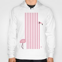 striped Hoodies featuring Striped Flamingo by Fonzy Nils
