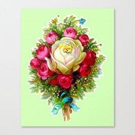 Retro Vintage Rose Bouquet Canvas Print
