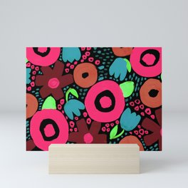 Bold Abstract Floral Inspired Pattern (Red, Orange, Honeysuckle Pink, Blue, Green) Mini Art Print