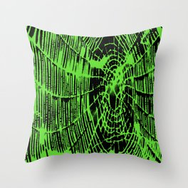 Intricate Halloween Spider Web Green Palette Throw Pillow