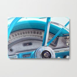 The blue steering wheel Metal Print