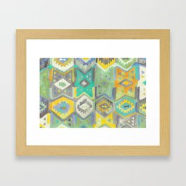 Kilim Me Softly in Turquoise Framed Art Print