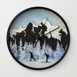 Cross Country Skiing Wall Clock