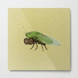 Cicada Playing a Sqeezebox Metal Print