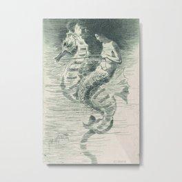 Vintage Memaid and Seahorse Art Metal Print