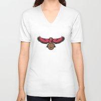 hawk V-neck T-shirts featuring Hawk by Dexter Gornez
