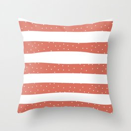 Christmas Simple seamless pattern Snow confetti on White and Coral Stripes Background Throw Pillow