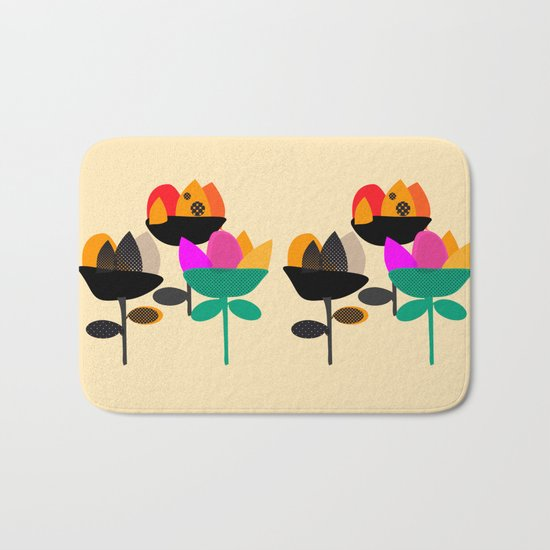 Three Flowers Bath Mat