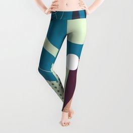 Floral Pattern Blue Shades Leggings