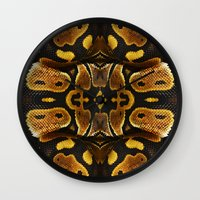 monty python Wall Clocks featuring Ball Python by Moody Muse