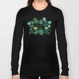 Tropical Pura Vida Palm Leaves and Monstera Watercolor Long Sleeve T-shirt