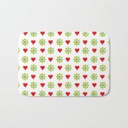 Heart and green flower Bath Mat