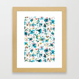 Blue watery hibiscus flowers - Tropical floral pattern Framed Art Print