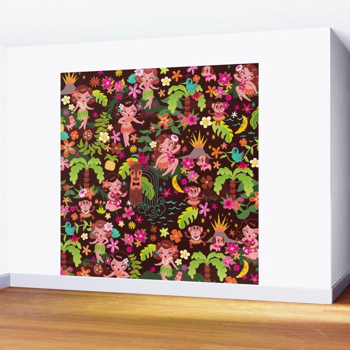 Hula Cuties Pattern Wall Mural