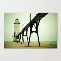 ice Canvas Prints featuring Manistee Light by Olivia Joy StClaire