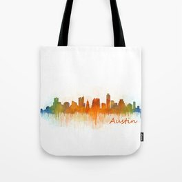 Austin Texas, City Skyline, watercolor  Cityscape Hq v3 Tote Bag