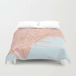 Napoli map Italy Duvet Cover