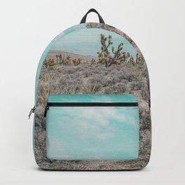 Teal Desert Sky // Cactus Landscape Photography Sierra Nevada USA Cloud Dusted Sky Backpack