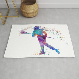 Girl Lacrosse Colorful Watercolor Sports Art Rug