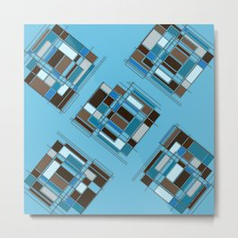 Retro Turquoise & Brown Abstract DPA150523-14 Metal Print