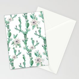 Cactus Rose Climb on White Stationery Cards