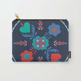 Folk Flowers with Red Border Carry-All Pouch