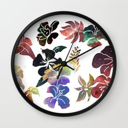 Tropical Flower Space Cut-Outs Wall Clock