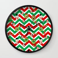 cartoons Wall Clocks featuring Festive Christmas Cartoons on Chevron Pattern by Kirsten Star