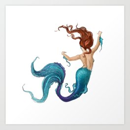 Mermaid in Motion Clean Art Print