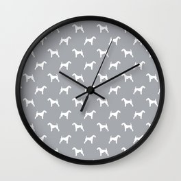 Airedale Terrier grey and white minimal dog pattern dog silhouette pattern Wall Clock