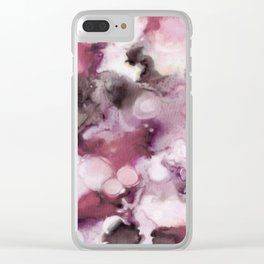 Organic Abstract in shades of plum Clear iPhone Case