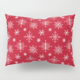 Snowflakes on Christmas red Pillow Sham