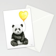 Panda with Yellow Balloon Baby Animal Watercolor Nursery Art Stationery Cards