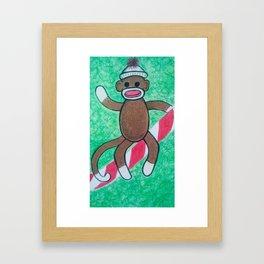 Christmas Sock Monkey Framed Art Print