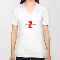 movies V-neck T-shirts featuring SEX, PIZZA, & ZOMBIE MOVIES by Lon Casler Bixby - Neoichi