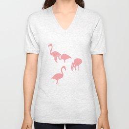 African Flamingo on Grey Unisex V-Neck