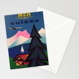 retro  MEA Suisse vintage poster Stationery Cards