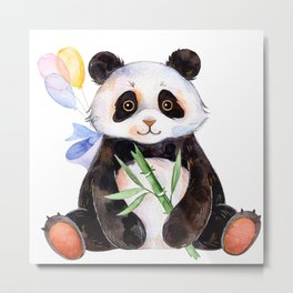 White Panda Watercolors Illustration Metal Print