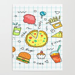 colorful doodle soda cartoon set Poster