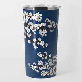 Japanese Sakura Cherry Blossoms (navy) Travel Mug