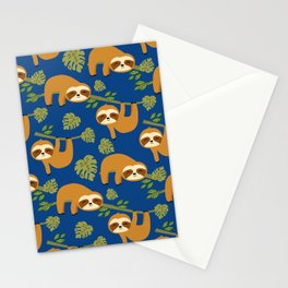 Cute Sloths on Blue, Baby Sloth Hanging Stationery Cards