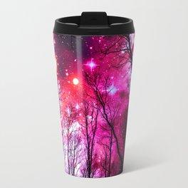 Black Trees Hot Pink Fuchsia Space Travel Mug