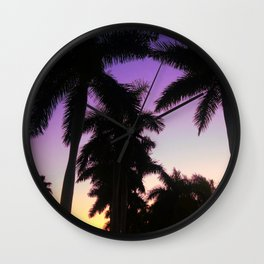 Palms in the Sunset Wall Clock