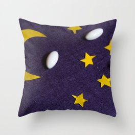 Sky with moon and stars. The concept of sleeping pills Throw Pillow