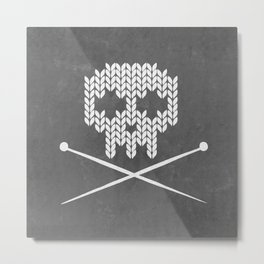 Knitted Skull (White on Grey) Metal Print