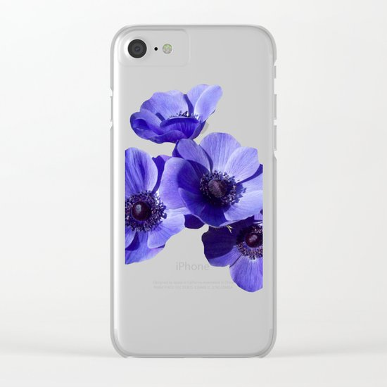 blue poppy Clear iPhone Case