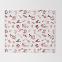Rosette Rose Gold Throw Blanket